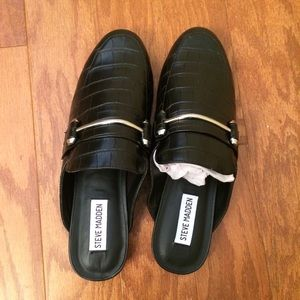 Steve Madden Kara Oxford Loafer Mules 8.5 Black